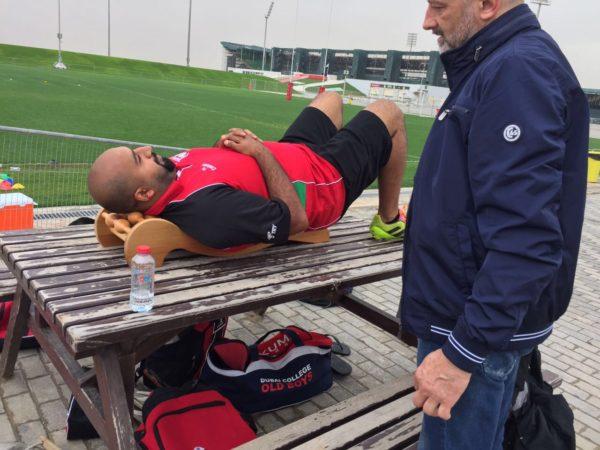 UAE rugby coach treating back