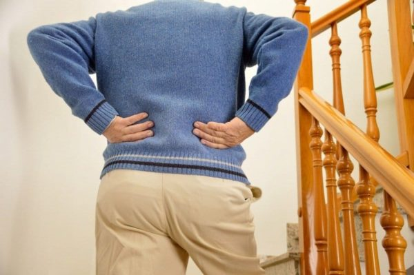 Back pain due to stairs.