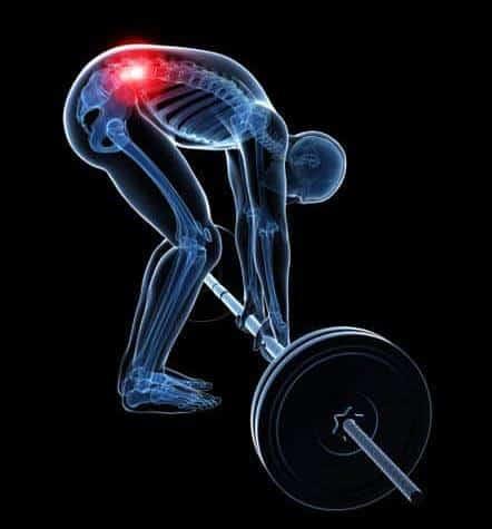 Lumbar pain while lifting weight.