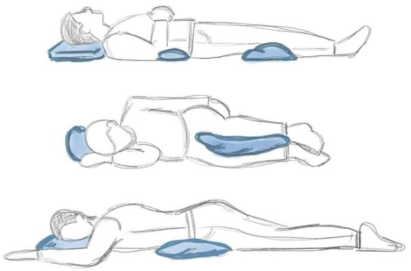 Sleeping postures for back pain relief.